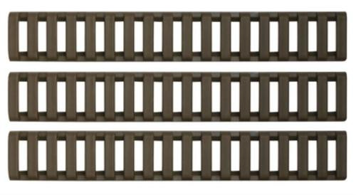 ERGO Low Profile Rail Cover, Long - Eighteen Slot OD Green 3 Pack