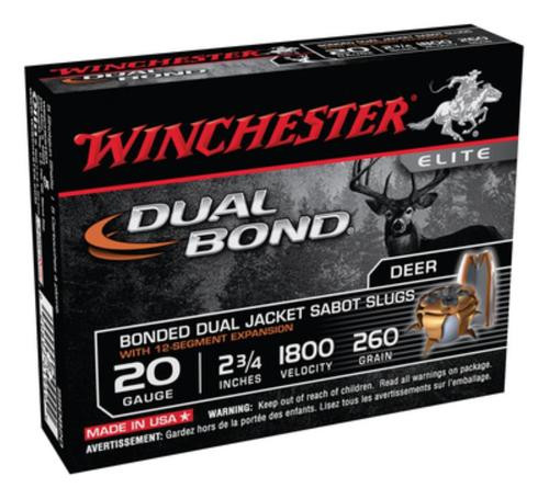 Winchester Dual Bond Fully Rifled Slug 20 Gauge, 2.75 Inch, 1800 FPS, 260gr, 5rd/Box