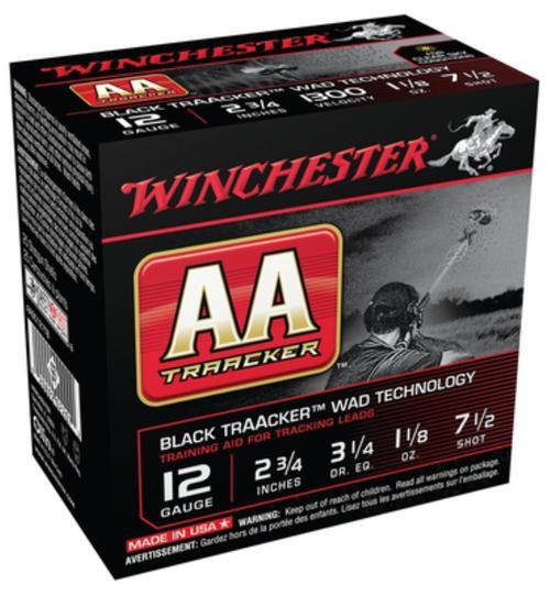 "Winchester AA TrAAcker 12 Ga, 2.75"", 1300 FPS, 1.125oz, 7.5 Shot, Black Wad, 25rd/Box"