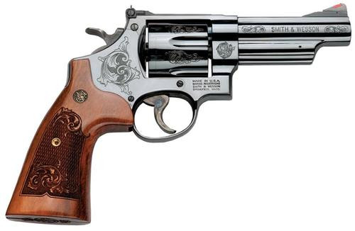 "Smith & Wesson 29, 44 Mag, 4"", 6rd, Engraved Wood Grip Blued Finish"