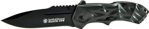 "Smith & Wesson Knives Black Ops Folder 3.4"" 4034 Stainless Steel Folding Aluminum, Black"