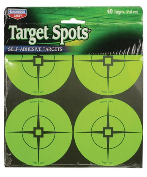 "Birchwood Casey Self-Adhesive Target Spots Atomic Green With Crosshairs, 3"", 40 Spots"