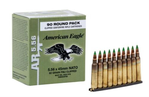 Federal American Eagle 5.56x45mm NATO 62gr, Full Metal Jacket, 10rd Stripper Clips, 90rd/Box