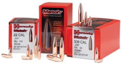 Hornady Match Bullets .308 Diameter 155 Grain Hollow Point Boattail 100 Per Box