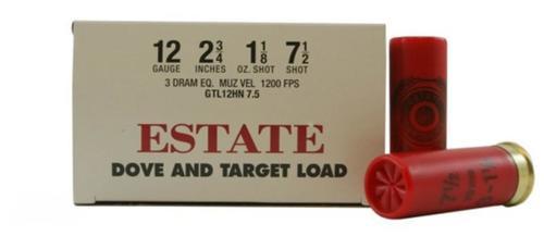 """Estate Dove and Target Load 12ga, 2 3/4"""", 1 1/8oz, 7 1/2 shot,"""