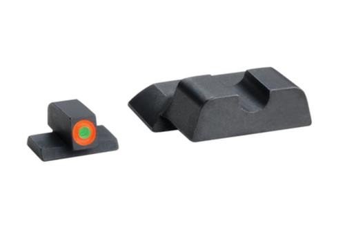 Ameriglo Hackathorn Night Set For S&W M&P Shield Orange Outline Front Blackrd-Notch Rear
