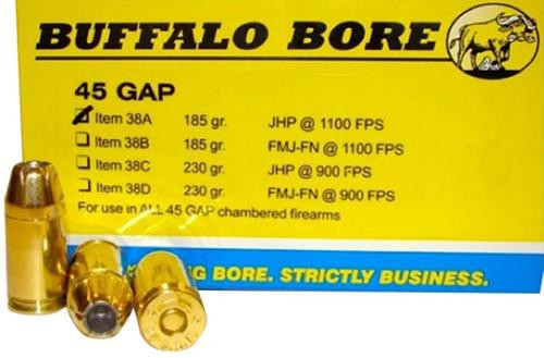 Buffalo Bore 45 For Glock Auto Pistol (GAP) JHP 185gr, 20rd Box