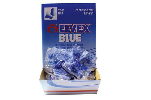 Elvex Corp Foam Plug Earplugs Blue, 200 Pack