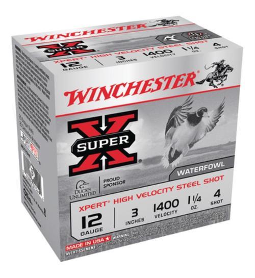 "Winchester Expert Hi-Velocity 12 Ga, 3"", 1-1/4oz, 4 Shot, 25rd/Box"