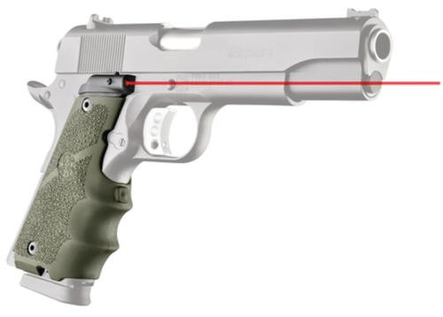 Hogue Laser Equipped Grips for 1911 Government Models Olive Drab Green