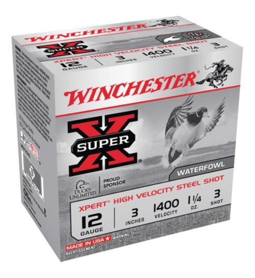 "Winchester Expert Hi-Velocity 12 Ga, 3"", 1-1/4oz, 3 Shot, 25rd/Box"