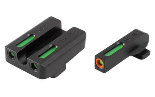 TruGlo TFX Pro Front/Rear Fiber Optic Sight, Green, Orange Outline, For Springfield XD