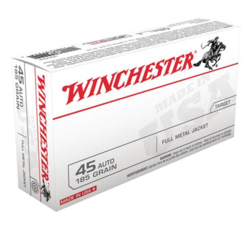 Winchester USA 45 ACP 185gr, Full Metal Jacket, 50rd Box