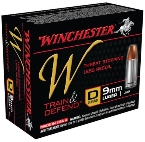 Winchester W Defend 9mm 147 Gr, Jacketed Hollow Point, 20rd Box