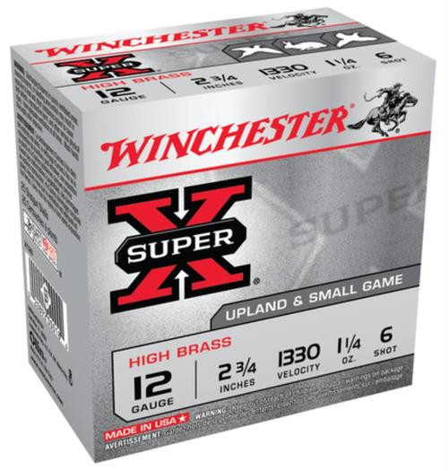 "Winchester Super-X High Brass 12 ga 2.75"" 1-1/4 oz 6 Shot 25Box/10Case"