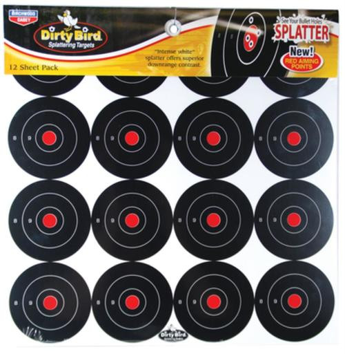 "Birchwood Casey Dirty Bird Splattering Targets 3"" Round ,16 Per Sheet, 12 Sheets Per Package"