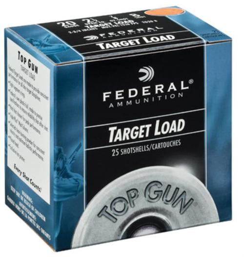 "Federal Top Gun Target 20 Ga, 2.75"", 7/8oz, 7.5 Shot, 25rd/Box"