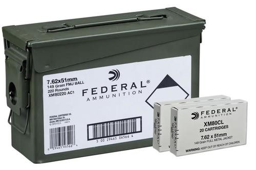 Federal Canned Ammo .308 Win 149gr, Full Metal Jacket, 20rd Box, 11 Box/Case, 220rd/Case