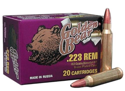 Golden Bear .223 Rem, 62 Gr, Hollow Point, 20rd/box