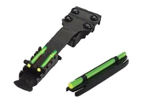 """Hi-Viz, Narrow Magnetic Shotgun Front and Rear Sight Combo Pack. Fits shotguns with ribs from .328"""" to .437"""" (1/4"""" to 7/16"""") (8.3mm to 11.1mm). Rear sight is fully adjustable and features two Green, non-replaceable LitePipes. Front sight includes one Gree"""