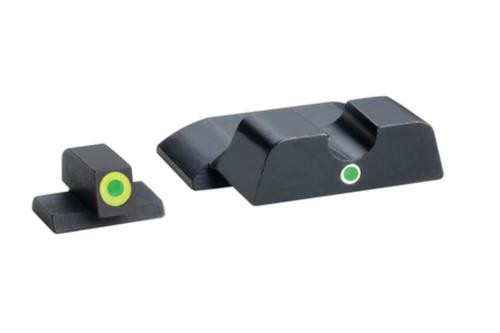 AmeriGlo Pro i-dot Set For S&W Shield Front ProGlo Green Tritium With Lime Outline Single Dot Green Rear Sight