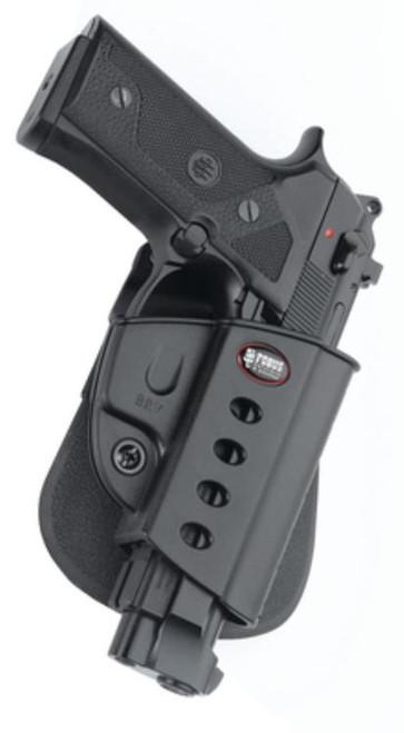 Fobus E2 Paddle Holster, Fits Beretta Vertec, Taurus 92/99 Rail, Right Hand, Kydex, Black