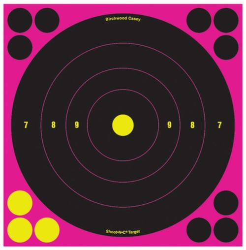 "Birchwood Casey Shoot-N-C Pink Reactive Target 8"" Bullseye 30 Per Package"