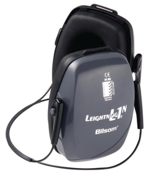 Howard Leight Leightning L1N Neckband Earmuff Behind-the-Neck Design Light Gray Earcups