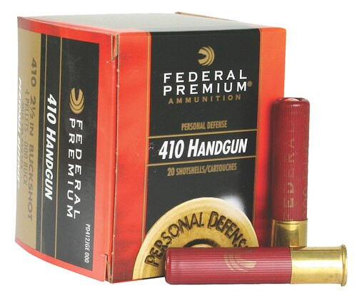 "Federal Premium Personal Defense Judge .410 Ga, 2.5"", 1200 FPS, 4 Pellet 000 Shot, 20rd Box"