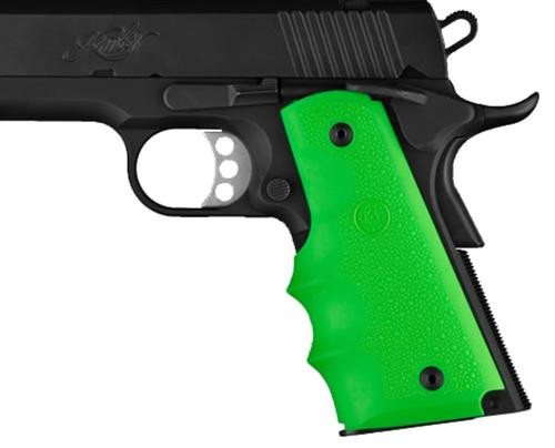 Hogue 1911 Government Model Rubber Grip, Finger Grooves Zombie Green