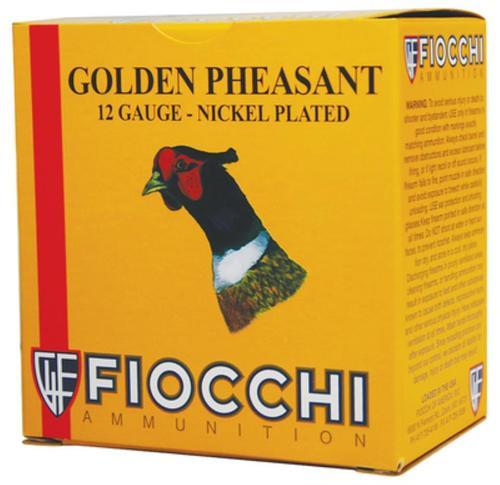 "Fiocchi Golden Pheasant Nickel 12 Ga, 2.75"", 1.3oz, 4 Shot, 1485 FPS, 25rd/Box"