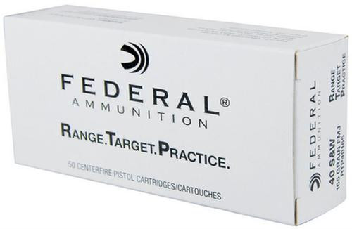 Federal 40SW RTP Range and Target Handgun Ammo 165gr, FMJ, 50 Rounds