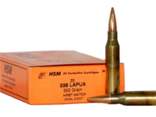 HSM 338 Lapua Magnum 300gr, Boat Tail Hollow Point 20rd Box