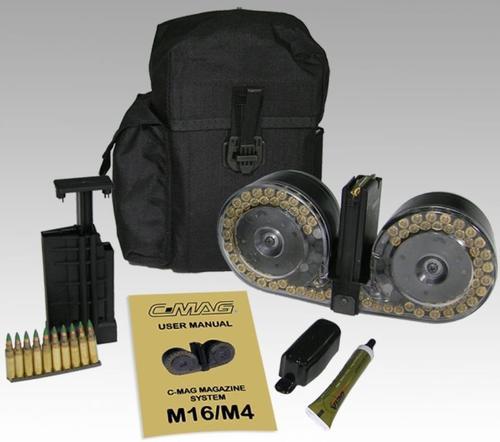 Beta M-16 Drum Magazine System, Clear/Black, Speed Loader
