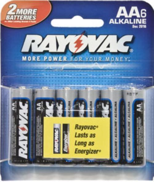 Rayovac 8156F Battery 1.5V Alkaline AA 6PK