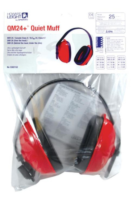 Howard Leight QM 24+ Earmuff Multiple Position Earmuff Red/Black
