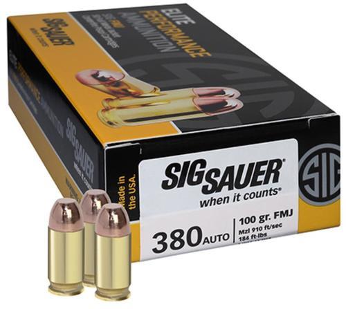 Sig Ammo 380ACP 100gr, FMJ, 50rd Box, 20 Box/Case