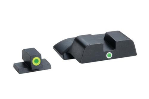 AmeriGlo Pro i-dot Set For S&W M&P Front ProGlo Green Tritium With Lime Outline Single Dot Green Rear Sight