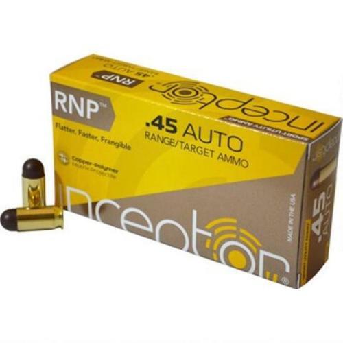 Polycase Inceptor Sport Utility 45 ACP, 135 Gr, Cu/P RNP Bullet, 50rd Box