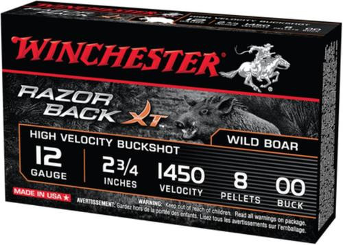 Winchester Razorback XT Buckshot 12 Ga 2.75 Inch 1450 FPS 8 Pellets 00 Buffered Buckshot Five Per Box
