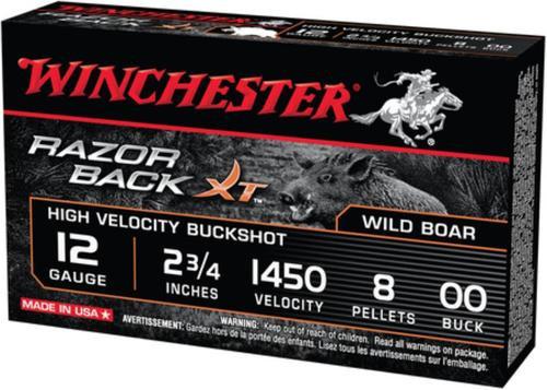 Winchester Razorback XT Buckshot 12 Ga 2.75 Inch 1450 FPS 8 Pellets 00 Buffered Buckshot Five Per Box