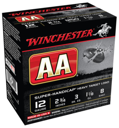 "Winchester AA Wads Super Handicap 12 Ga, 2.75"", 1250 FPS, 1.125oz, 8 Shot, 250rd/Case (10 Boxes of 25rd)"