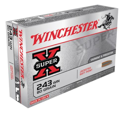 Winchester Super X 243 Win Pointed Soft Point 80gr, 20Box/10Case