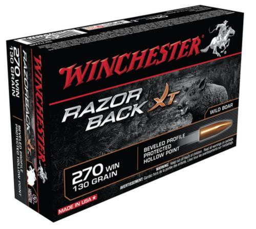 Winchester Razorback XT Rifle Ammunition .270 Winchester 130gr, Razorback XT 20rd Box