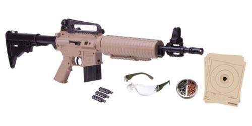Crosman Air Guns M4-177 Multi-Pump Repeater Kit .177 Caliber BB/Pellet Adjustable Stock Tan Stock and Forend