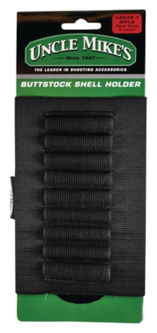 Uncle Mike's Rifle Butt Stock Shell Holder 48-1, Black Elastic, 9 Holders