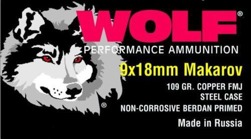 Wolf 9x18 Makarov, 94 Gr, FMJ, Steel Case, 1000rd/Case