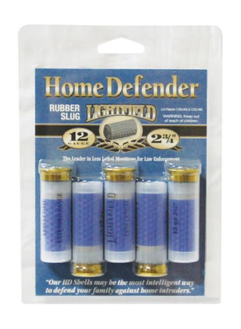"Lightfield Ammunition Home Defense Rubber Slug 12 Ga 2.75"" 130gr Muzzle Velocity 600 fps 5 Per Box"