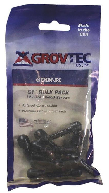 "Grovtec Wood Screw Swivel Studs 0.75"" 12-Pack Black"