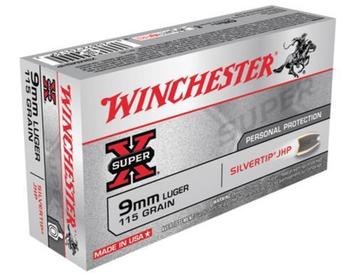 Winchester Super X 9mm Silvertip HP 115gr, 50rd Box